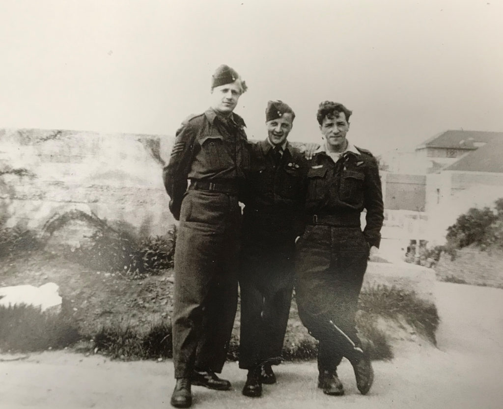 FSGT Jean Cauchy, left, in Bournemouth on May 14, 1945, the day after his liberation from Stalag Luft I. RCAF Photo