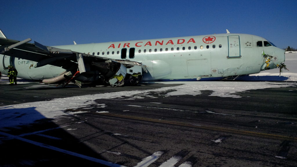 Luckily all passengers and crew members on board the aircraft survived the crash, but the A320 was a complete write-off. TSBC Photo