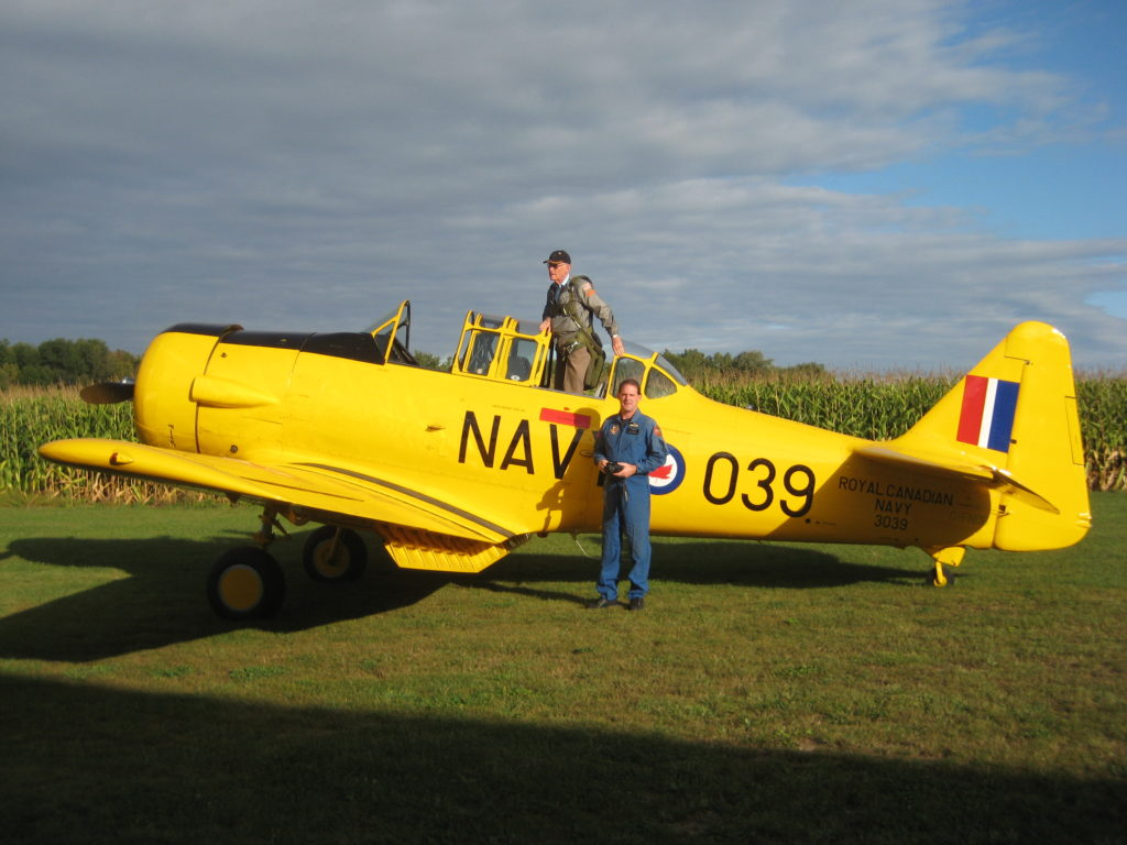 Bob Hewitt with his son Dave, who also has a passion for Harvards and flies with the Canadian Harvard Aerobatics Team in Woodstock, Ont. Dave Hewitt Photo