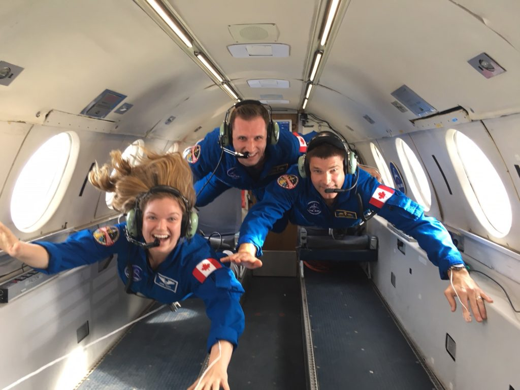 Canadian Space Agency (CSA) astronauts Jenni Sidey-Gibbons (L), Joshua Kutryk and Jeremy Hansen experiencing temporary weighlessness during microgravity familiarization training. CSA Photo