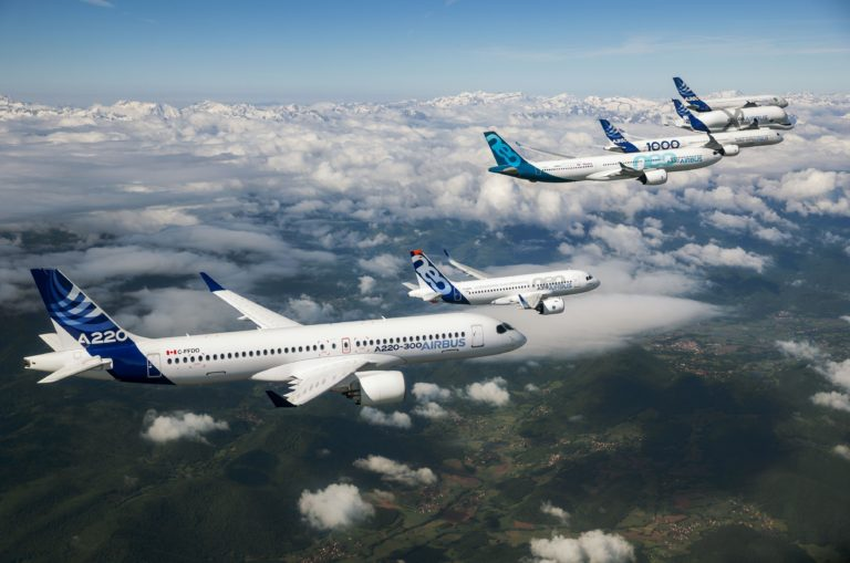 In celebration of the company's 50th anniversary in 2019, Airbus conducted a special formation flight with representatives from each member of its in-production commercial aircraft product line. Airbus Photo