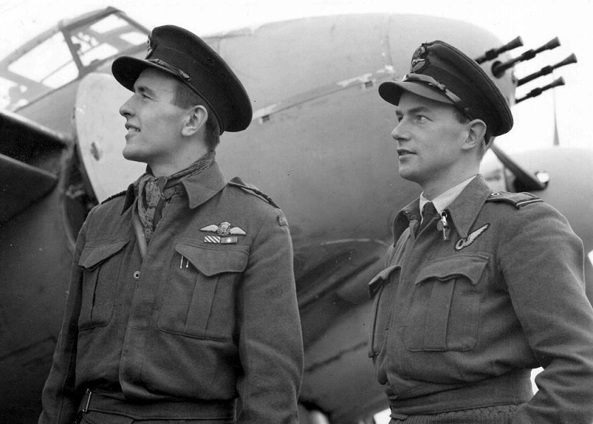 Bruce Bannock, right, pictured with his wartime navigator and longtime friend Robert Bruce. RCAF Photo