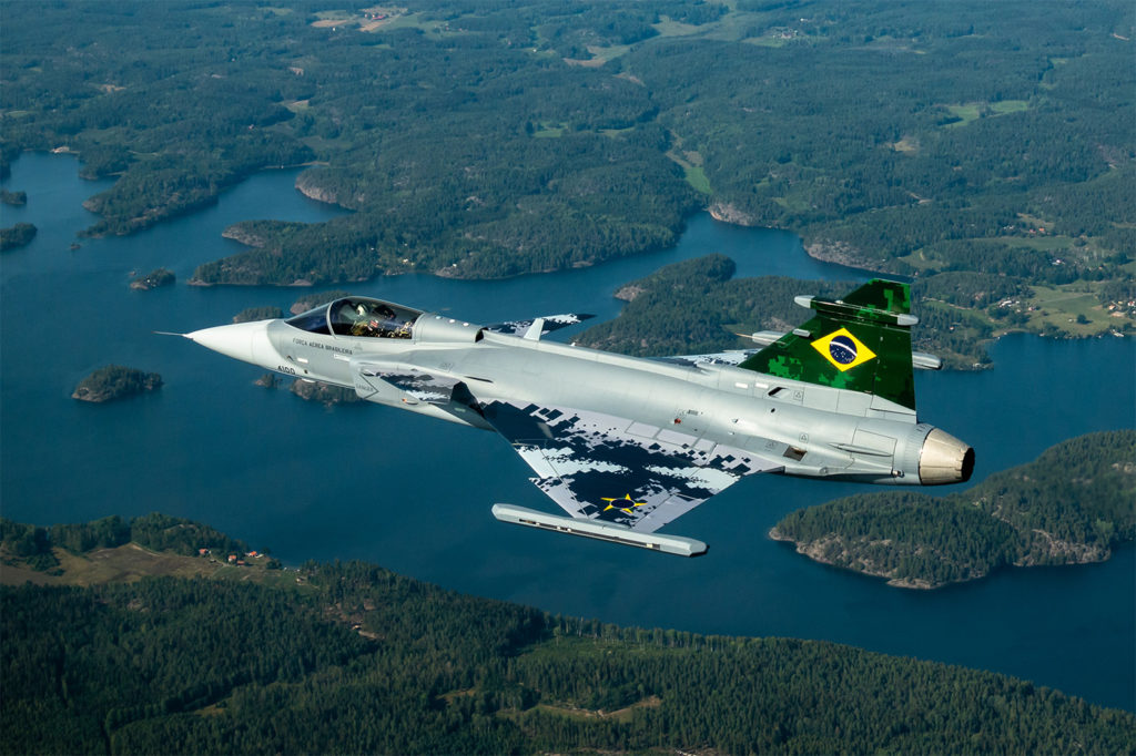 Brazil accepted the first of its flight text aircraft in September 2019 and expects to take delivery of its first operational aircraft in 2021. Saab Photo