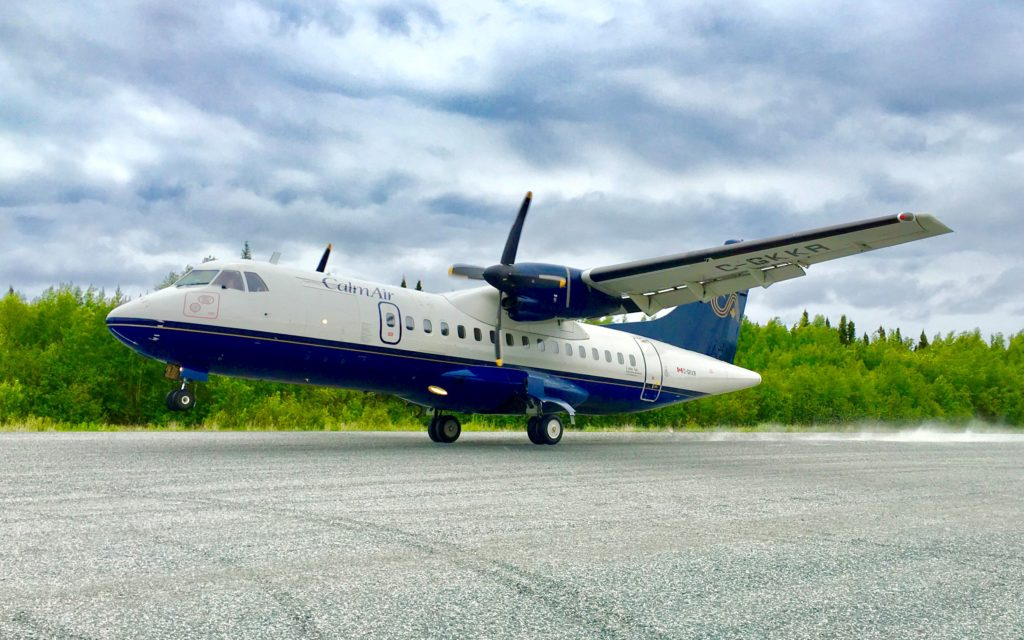 A Calm Air ATR 42 on the gravel runway at Elk Island Airport in Manitoba. EIC Photo