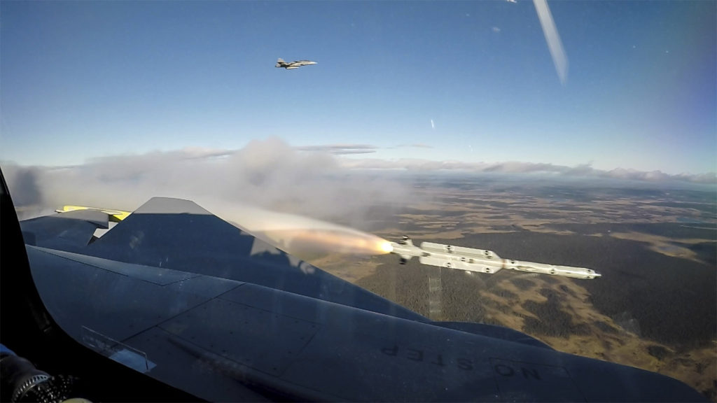 A Gripen E fires off the short range IRIS-T air-to-air guided missile. Saab Photo