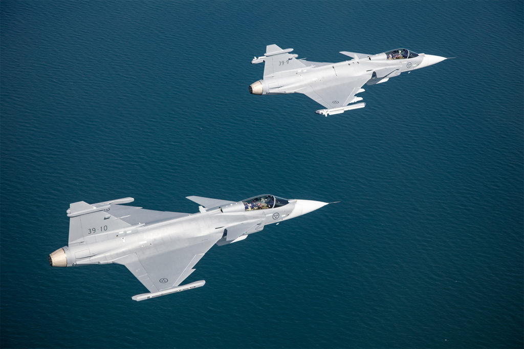 Rather than invest specifically in stealth, Saab has developed sensors and electronic warfare capabilities to make the Gripen E difficult to detect. Saab Photo