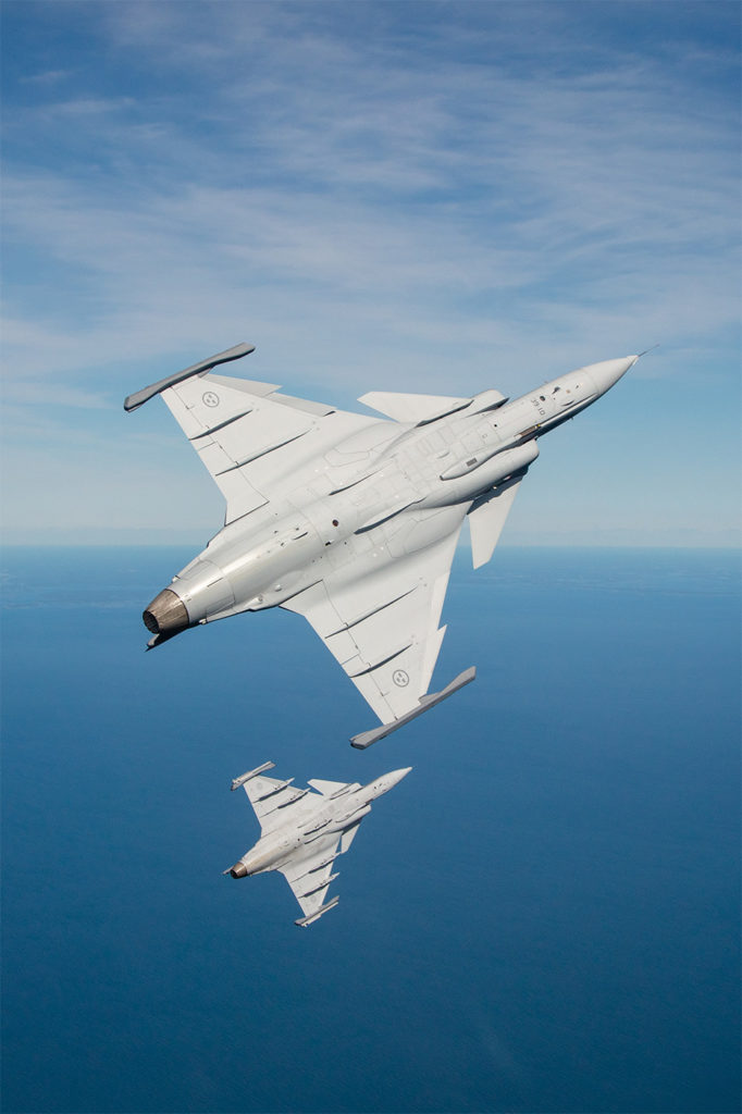 The Gripen E was designed to counter the threats of Russian aircraft and anti-aircraft systems near Sweden's borders, said Saab's chief test pilot Mikael Olsson. Saab Photo