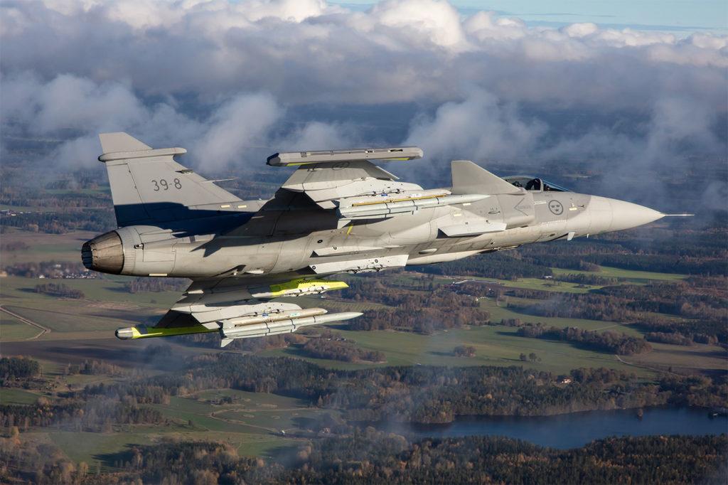 Gripen E test aircraft 39-8 carries the MBDA Meteor beyond-visual-range air-to-air missile. Saab Photo