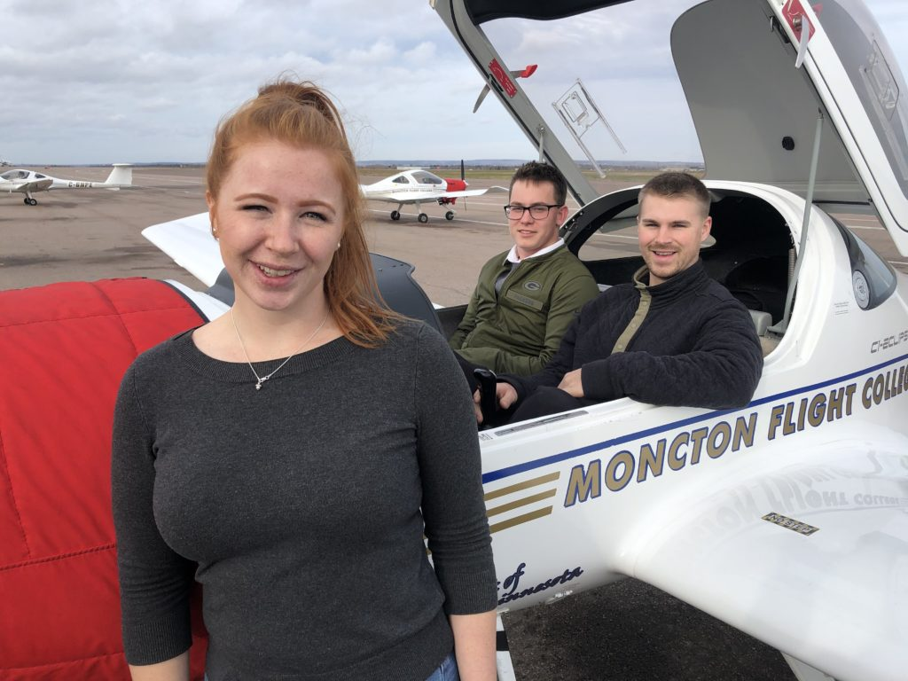 Three Life in Flight students with an MFC Diamond DA20 training aircraft: Kristi-Lee Bauchke, Troy Wilson and Kirk Sparkes. EIC Photo