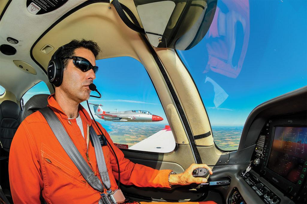 Stephane Logette flies the Cirrus SR-22 camera plane. Mike Reyno Photo