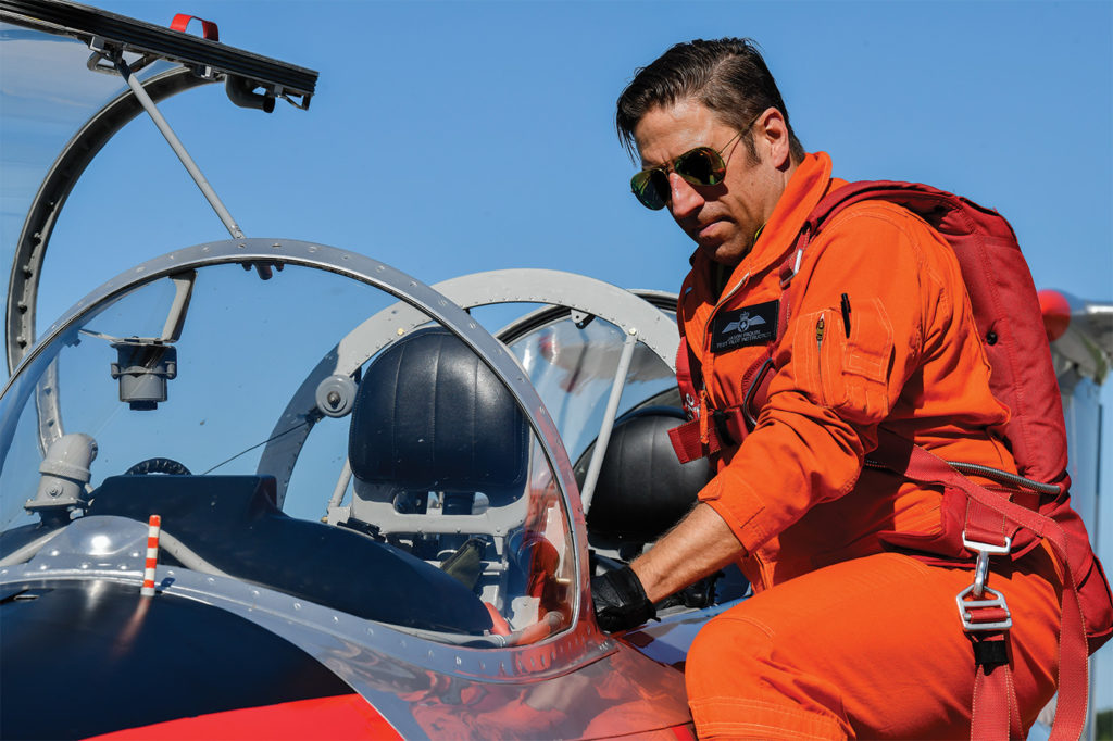 Jason Paquin readies for his next test flight in the L-29. Mike Reyno Photo