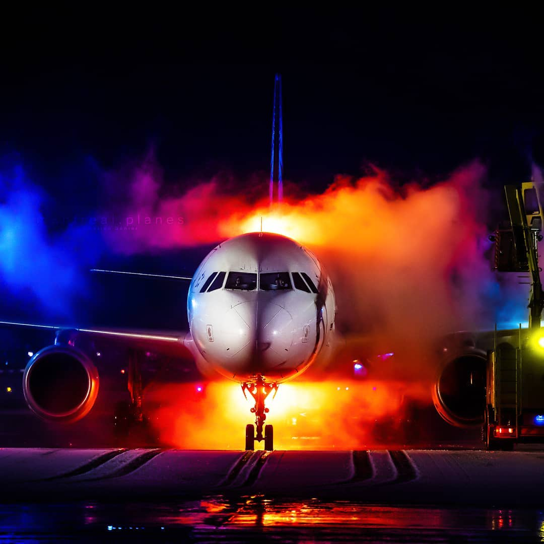 Beautiful colours in this capture of an Air Canada A320 being de-iced at Montreal-Trudeau International Airport. Photo submitted by Celian Genier (Instagram user @montreal.planes) using #skiesmag.