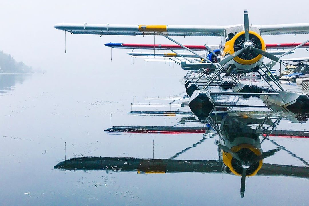 A row of de Havilland Canada DHC-2 Beavers sit patiently on the water during a foggy, damp day. Photo submitted by Steve Bjorling (Instagram user @otterdrivernw) using #skiesmag.