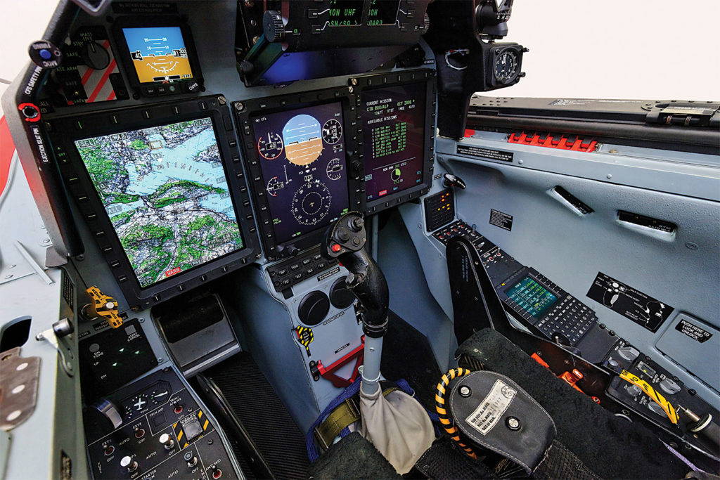 The comfortable, functional cockpit emulates many of the systems on an F/A-18 fighter. Pilatus Photo