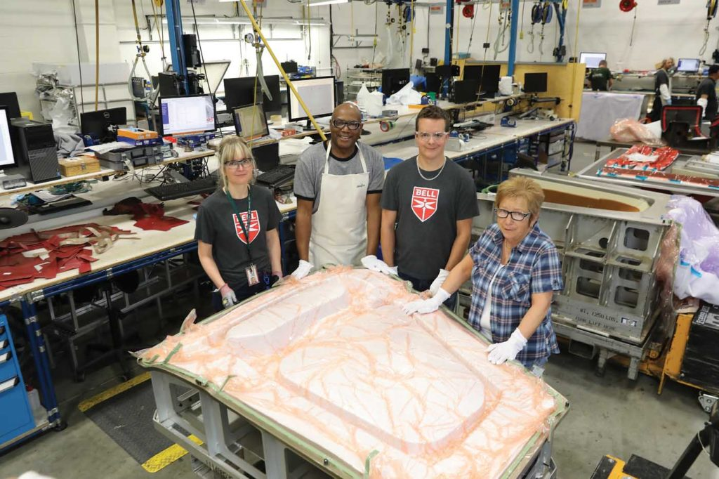 The Mirabel facility has bought a lot of formerly outsourced composite work in-house, and now makes more than 600 composite parts. Bell Photo