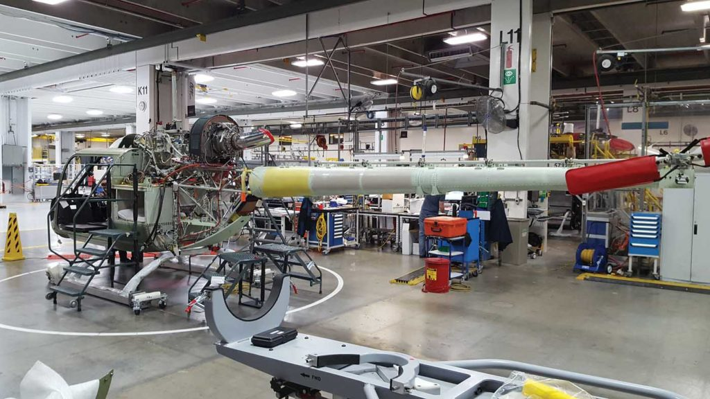 A 505 Jet Ranger X sits at a station on the final assembly line in Mirabel. Bell is able to produce one 505 every 1.5 days. Bell Photo