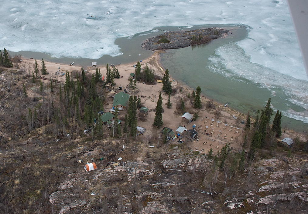 The Hoarfrost River home base in late spring, two years after the fire of 2014. Ice offshore usually lasts until the fourth week of June. Kristin Gilbertson Olesen Photo