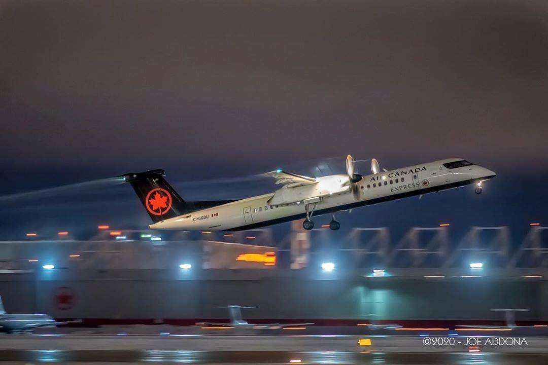 De-icing fluid trails off this Air Canada Express De Havilland Canada Dash 8 as it departs Montreal-Trudeau International. Photo submitted by Joe Addona (Instagram user @sa_yul) using #skiesmag.