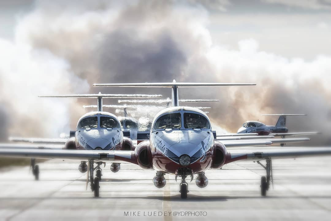 A picture-perfect backlit shot the CF Snowbirds as the team taxis home after another successful show. Photo submitted by Mike Luedey (Instagram user @ydpphoto) using #skiesmag.