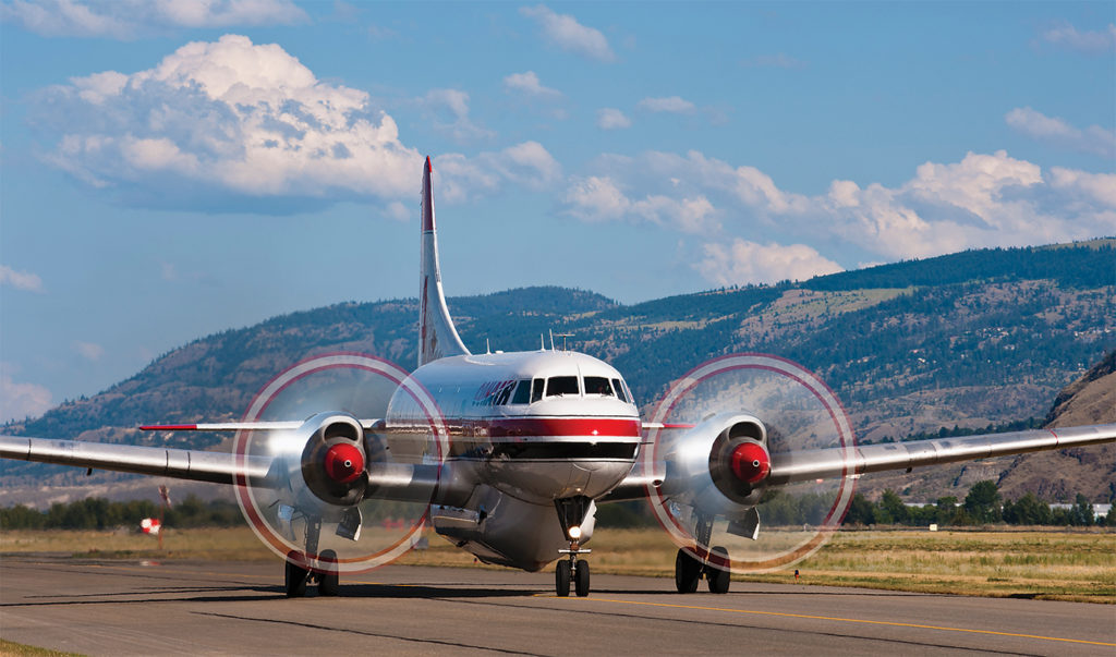 Like the L-188 Electra, the Convair CV-580 has also been a staple for Conair, though both types are reaching the end of their flying careers. Jeff Bough Photo