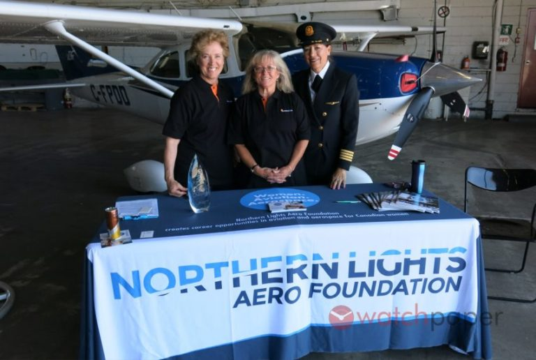 Joy Parker Blackwood, middle, seen here with NLAF director Lesley Page, left, and Capt Judy Cameron, right, one of the NLAF's directors. NLAF Photo