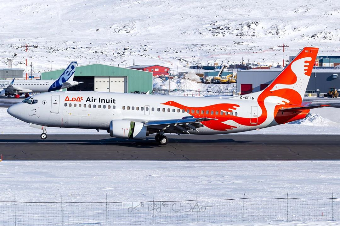 Air Inuit's gorgeous livery showcased on this Boeing 737. Photo submitted by Brian Tattuinee (Instagram user @tattuinee) using #skiesmag.