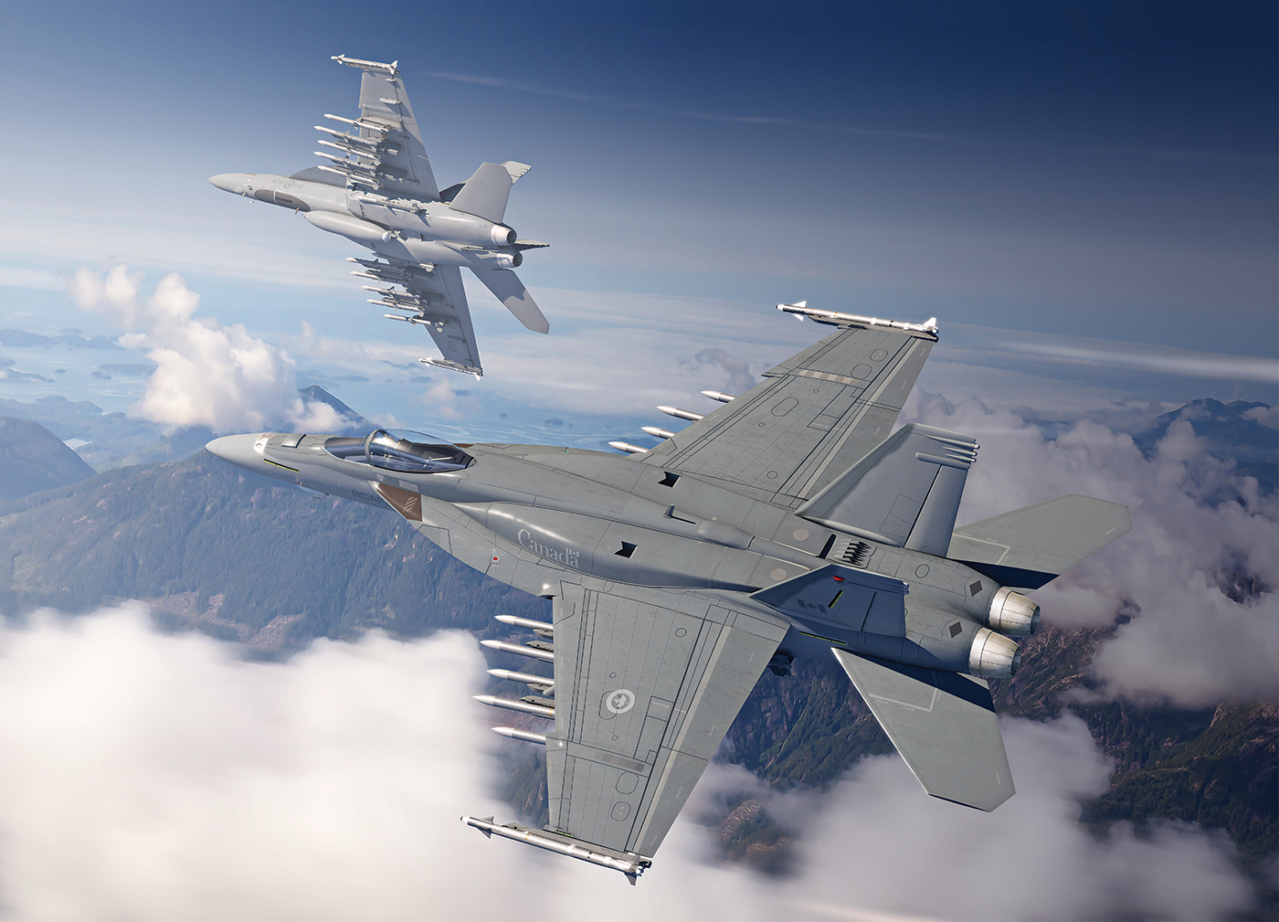"""The Block III Super Hornet features conformal fuel tanks (behind the cockpit on the jet's """"shoulders"""") that expand its standard combat air patrol mission range by about 20 per cent, or increase the loiter time by roughly 30 minutes. Boeing Image"""