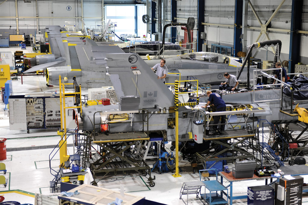 Boeing said it will sign a binding agreement to invest in Canadian content up to 100 per cent of the contract value. That means jobs and know-how for Canadian companies like L3 Harris MAS in Mirabel (shown here), which has developed a worldwide expertise for maintaining the legacy F/A-18 Hornet. L3 MAS Photo