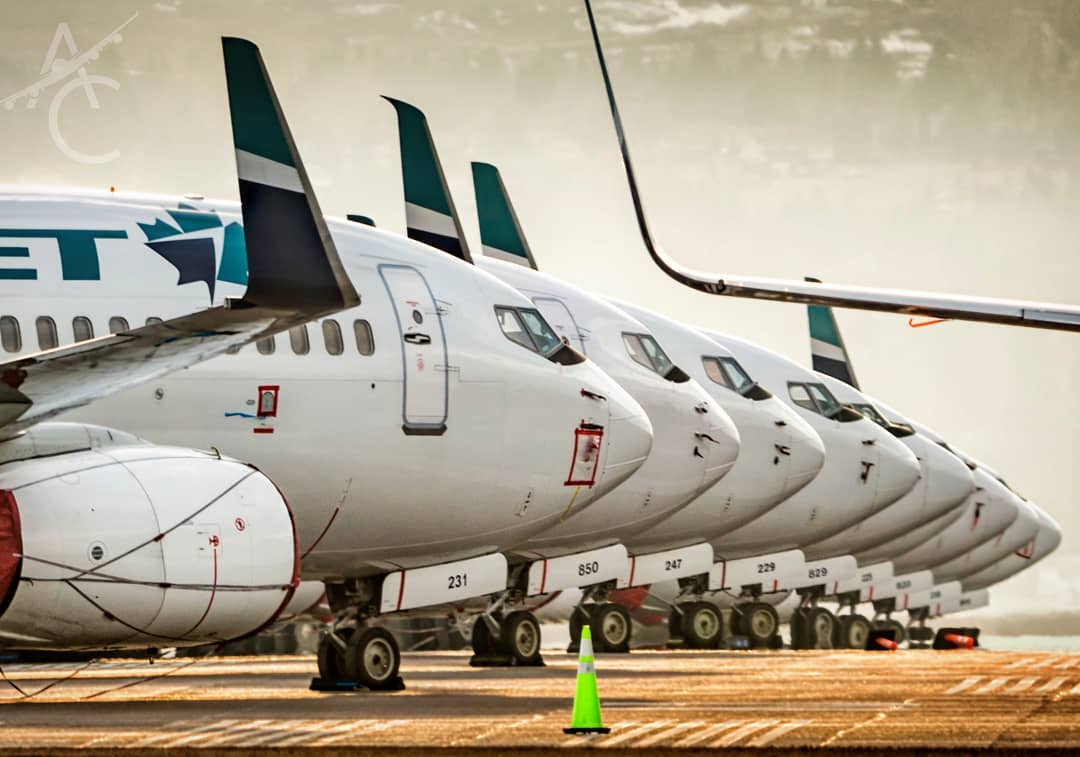 A sign of the times, WestJet aircraft parked on Calgary International's grounds. Photo submitted by Adrian Edwards (Instagram user ace.yyc) by tagging @skiesmag.