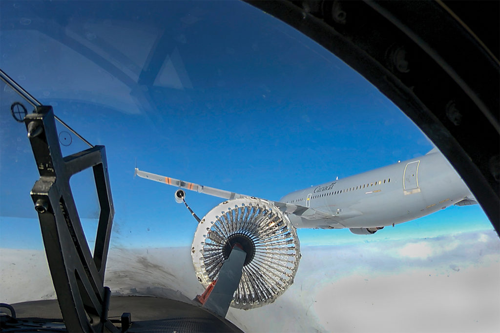 The Super Hornet offers a unique feature: It can serve as its own tanker. A fifth jet can be added to a four-ship team to extend the legs of a mission. Here, an RCAF CF-188 Hornet refuels from a CC-150 Polaris tanker. LS Erica Seymour Photo