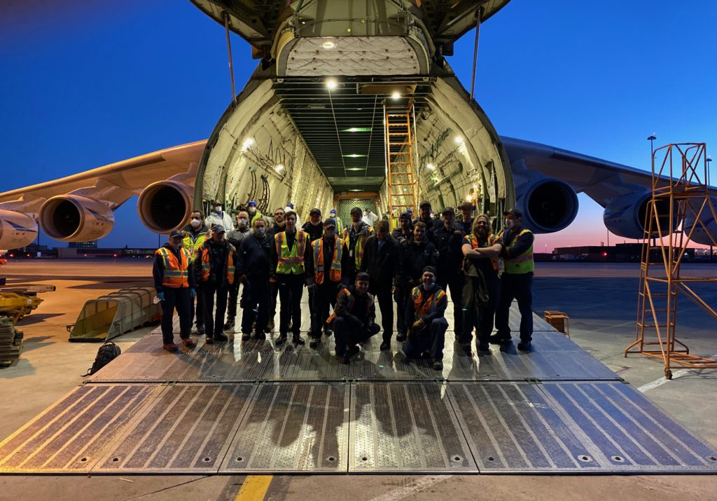 The exhausted crew stuck around after unloading the aircraft for roughly seven hours to see the Antonov An-225 off. Nolinor Aviation Photo