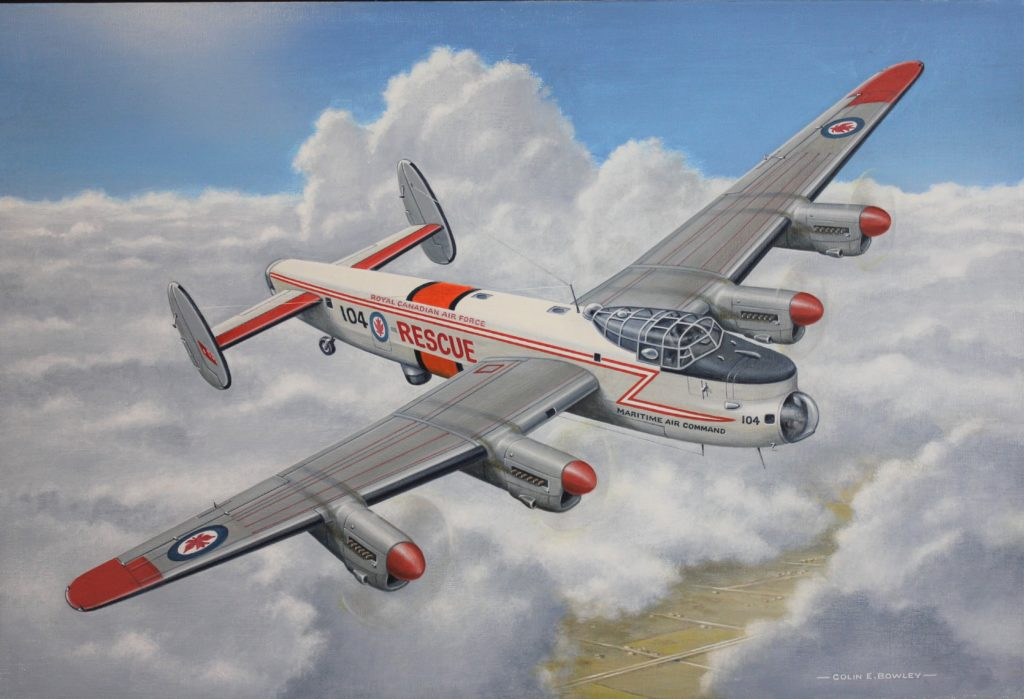 Lancaster FM104 as it would have appeared in the early 1960s, captured in this acrylic on canvas painting by Colin E. Bowley in 2018.Lancaster FM104 as it would have appeared in the early 1960s, captured in this acrylic on canvas painting by Colin E. Bowley in 2018.
