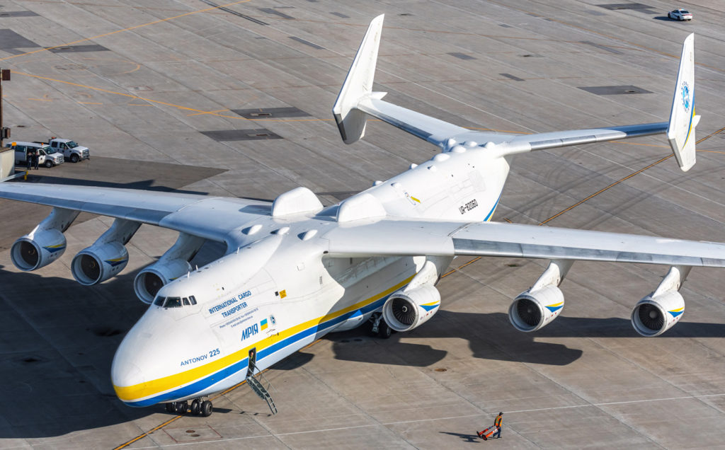 The AN-225 holds Guinness World Records for the aircraft with the heaviest takeoff weight and the heaviest item airlifted. Jan Jasinski Photo