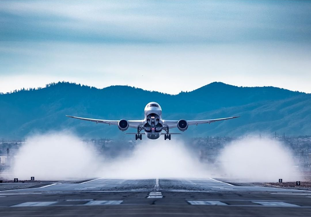 An incredible head-on look at an Air Canada Boeing 787 taking off. Photo submitted by Instagram user @inturbineswethrust by tagging @skiesmag.