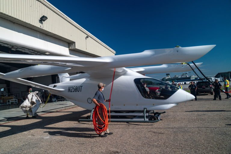 Alia being readied for the airlift. The aircraft has already started tethered hover and high-speed taxi tests, and will be able to progress to horizontal and, ultimately, vertical flight at its new test site. Eric Adams Photo