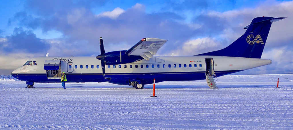Calm Air operates a dozen aircraft including seven ATR42s and five ATR72s (shown here). It flies a scheduled network that includes six communities in Manitoba and eight in Nunavut. EIC Photo