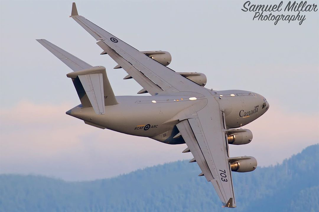 A great capture of an RCAF CC-177 Globemaster. Photo submitted by Samuel Millar (Instagram user @samuelmillarphotography) by tagging @skiesmag.