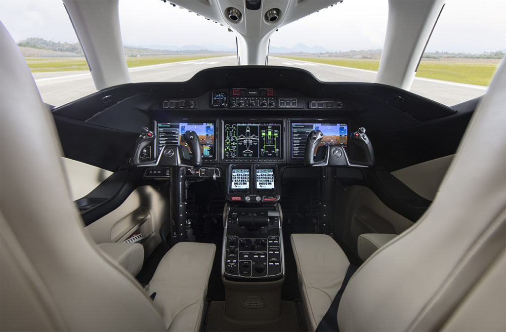 The HondaJet Elite features Garmin G3000 avionics upgrades that provide improved situational awareness in the cockpit and more automated safety features. Honda Aircraft Photo