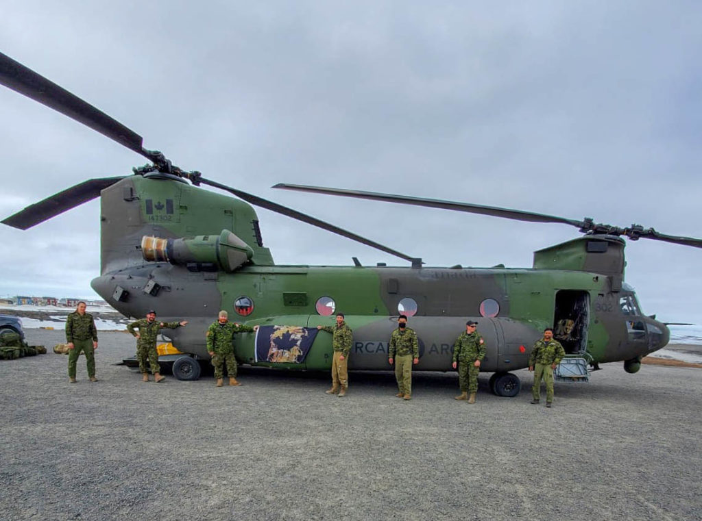 The crew of Rescue 302 in Puvirnituq, Que., prior to departing for Petawawa, Ont. Cpl Justin Critchley/RCAF Photo