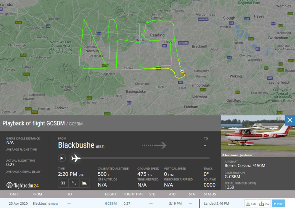 In late-April, a pilot flying a Reims-Cessna F150M spelled out