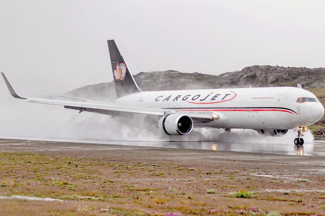 A Cargojet Boeing 767 splashes down in Iqaluit. Photo submitted by Brian Tattuinee (Instagram user @tattuinee) using #skiesmag.