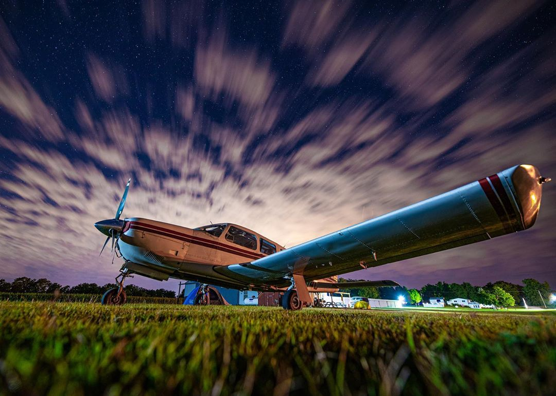 A Piper parked under a beautiful evening sky. Photo submitted by Instagram user @pilot.abroad using #skiesmag.