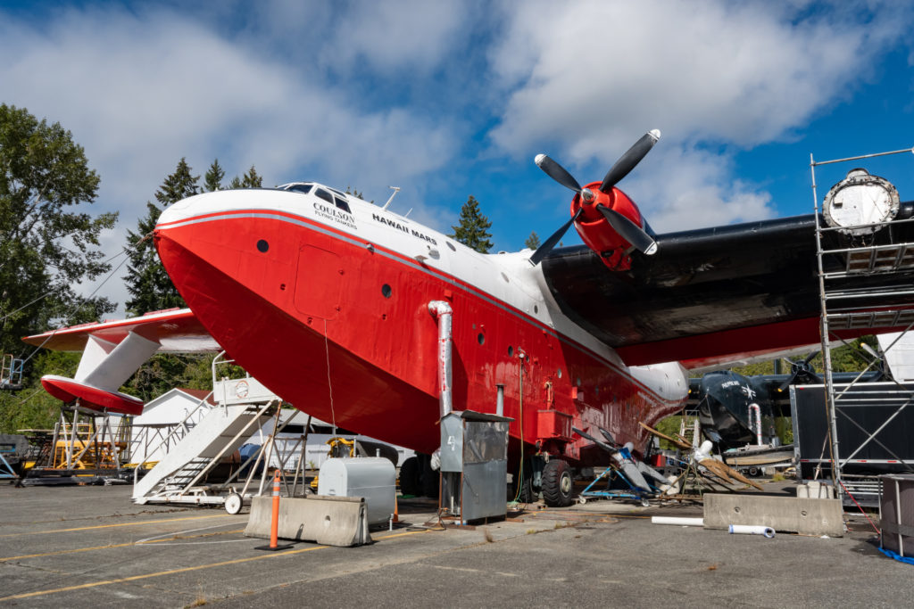 The legendary Martin Mars water bombers owned by Coulson Aviation may take to the sky again. Derek Heyes Photo