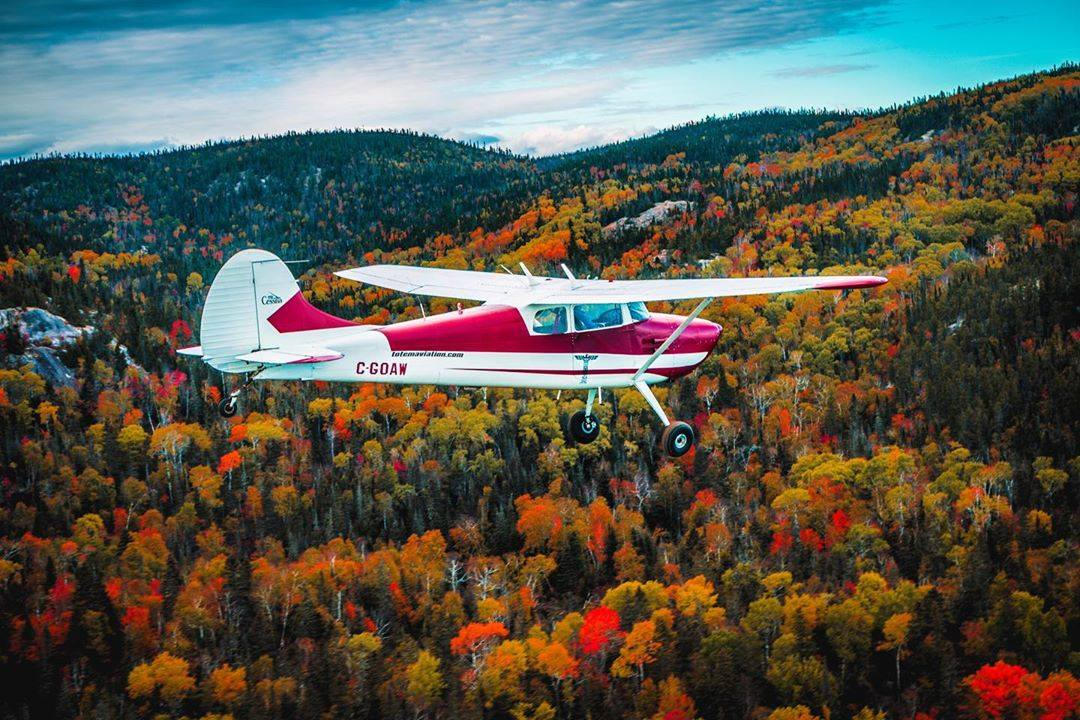 A beautiful fall setting for this Cessna 170B. Photo submitted by Instagram user @faroy828 using #skiesmag