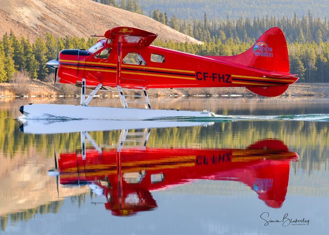 Alpine Aviation's DHC-2 Beaver on Schwatka Lake, Yukon. Photo submitted by Simon Blakesley (Instagram user @simon_blakesley) using #skiesmag