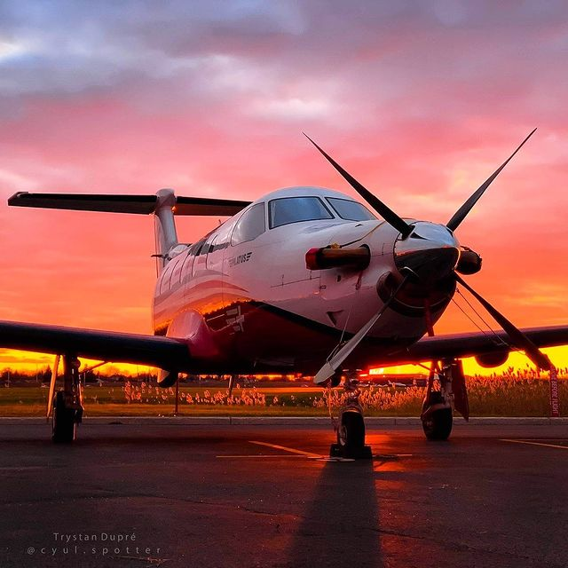 Pilatus PC-12 soaking up the golden hour at Montreal Saint-Hubert Longueuil Airport. Photo submitted by Trystan Dupré (Instagram user @cyul.spotter) using #skiesmag