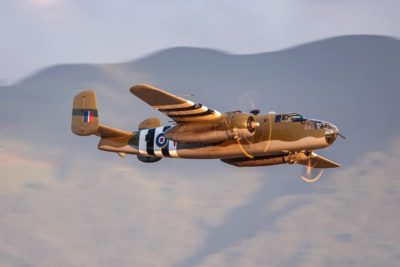 B-25 Mitchell doing flybys on a beautiful evening in British Columbia. Photo by Instagram user @eyetrapperyvr
